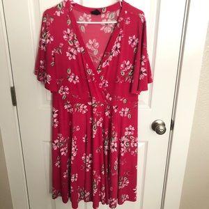 Bright pink faux wrap dress